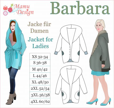 Barbara E-Pattern Jacket or Reversible Jacket Woman Ladies