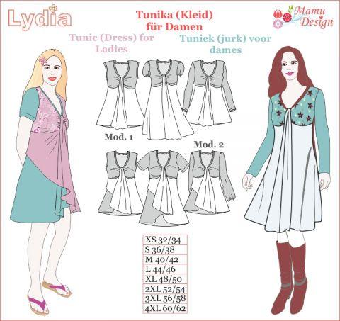 E-Book Schnittmuster und Nähanleitung LYDIA Tunika, Shirt, Top, Kleid Damen