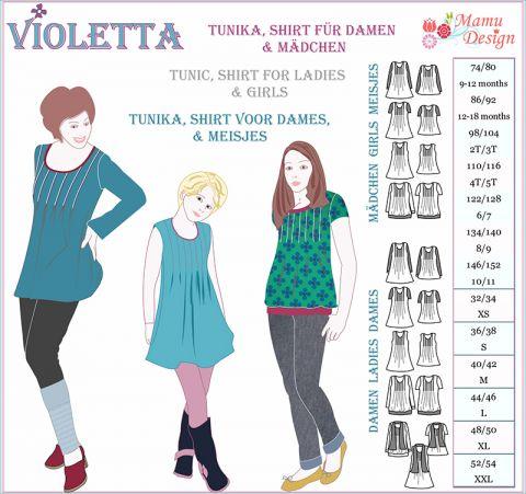 Schnittmuster VIOLETTA Tunika Shirt Top Kleid Damen Mädchen