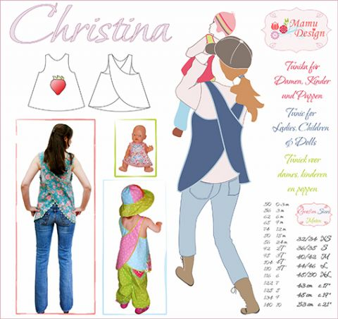 CHRISTINA Pattern Dress Tunic Woman Girl Baby Doll