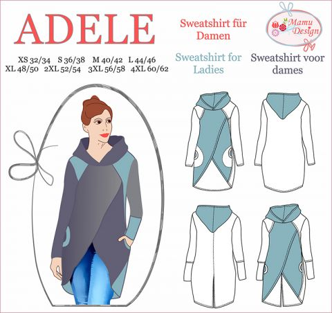 ADELE Pattern Sweatshirt, Hoodie, Long-Shirt for Woman
