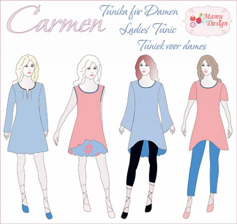 Schnittmuster und Nähanleitung CARMEN Tunika Kleid Damen