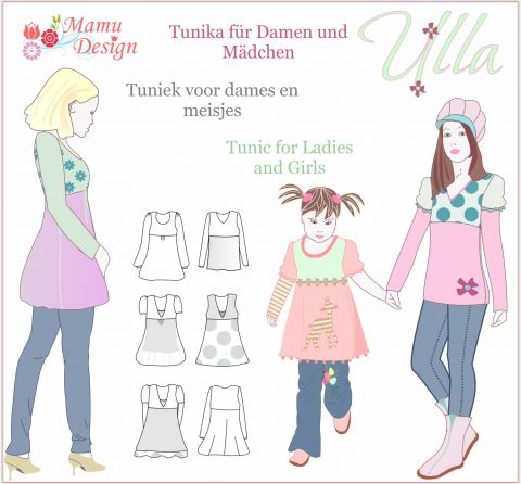 Pattern ULLA Tunic, Dress, Shirt for Ladies, Girls and Dolls