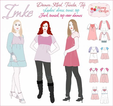 IMKE pattern for Woman, Blouse, Top, Tunik, Dress, Shirt