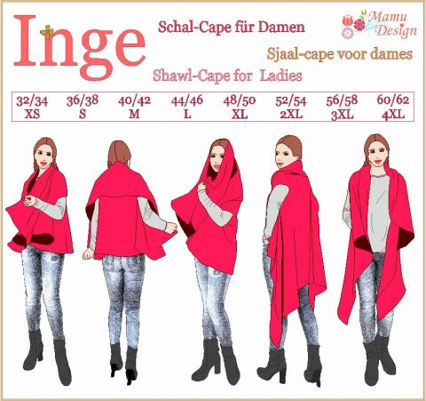 Paper Pattern and Sewing Instructions of Shawl-Cape INGE