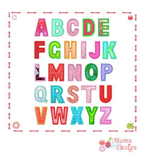 Applikation für die Stickmaschine, Stickdatei Buchstaben ABC 52 Dataien