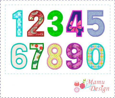 Embroidery Appliqués Numbers 0-9, 4 x 4 hoop, 20 files