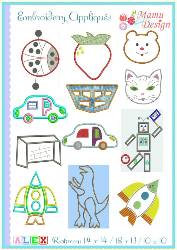 Mamu,Design,roboter,rakete,käfer,marienkäfer,erdbeere,auto,ritter ...