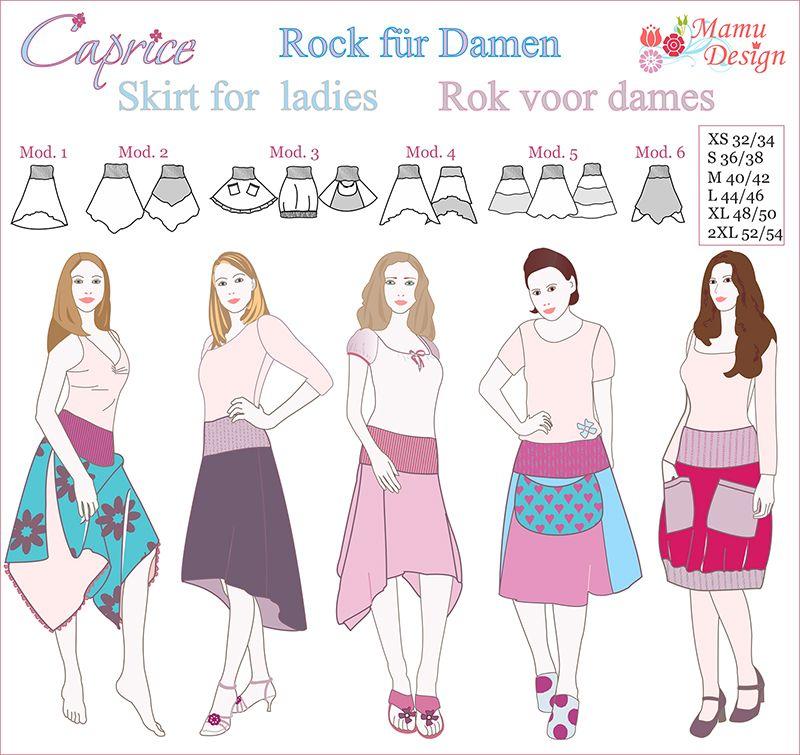Anleitung,CAPRICE,Damen,Schnittmuster,Rock,Buendchen - Mamu Design ...