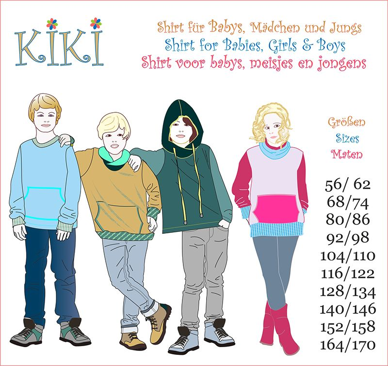 Ebook Schnitt KIKI Sweatshirt Shirt Hoodie Kinder Baby - Mamu Design ...