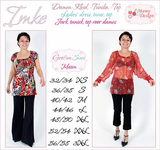 E-Book Schnittmuster Naehanleitung IMKE Bluse Top Kleid