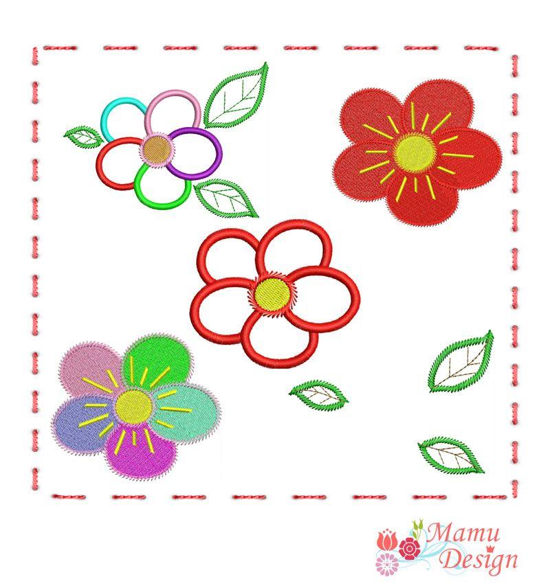 Mamu,Design,blumen,flowers,bestickt,appliziert,applikation ...