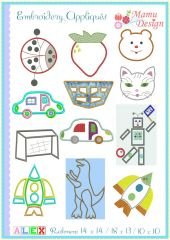 Embroidery Designs (Appliqués) Alex, 6 x 10 / 4 x 4 hoop
