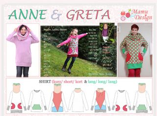 Sewing Instructions ANNE Pattern Sweatshirt, Shirt, Dress Woman