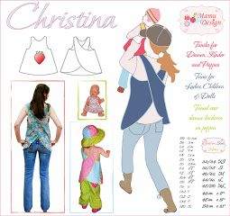 CHRISTINA E-Pattern Dress Tunic Woman Girl Baby Doll