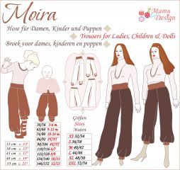 Moira, Sewing Instructions for Trousers for Ladies, Children, Babies, Dolls