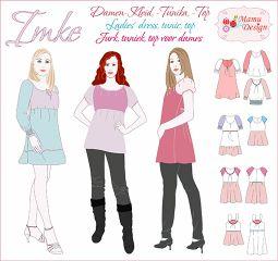 Sewing Instructions IMKE Pattern for Woman Blouse, Top, Tunik, Dress