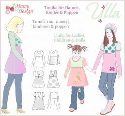 PDF-Anleitung ULLA Tunika Shirt Schnittmuster Damen,Mädchen,Puppe